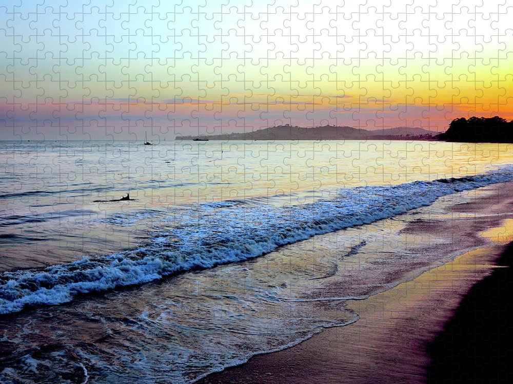 Tranquility Puzzle featuring the photograph Sunset At Butterfly Beach, Santa by Geri Lavrov
