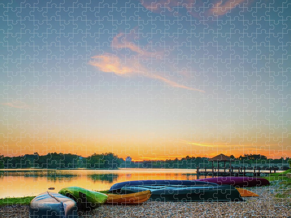 Tranquility Puzzle featuring the photograph Sunset At Kayak Putrajaya Lake by Muhammad Hafiz Bin Muhamad