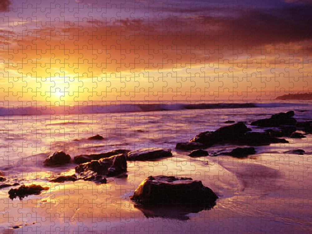 Scenics Puzzle featuring the photograph Sunset At Laguna Beach by Jason v