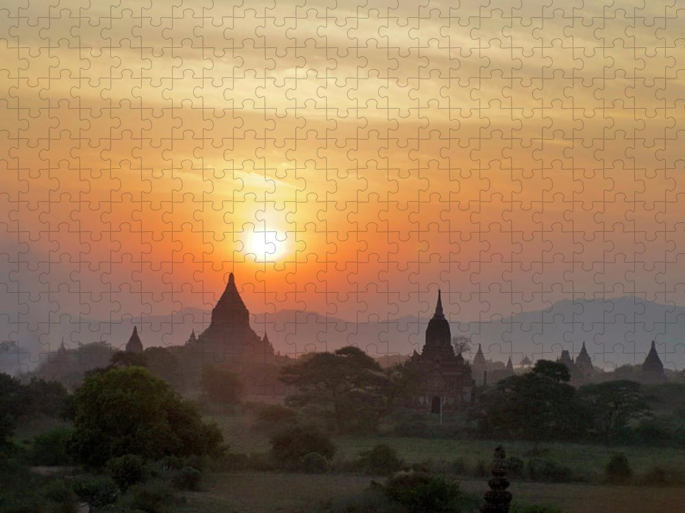 Tranquility Puzzle featuring the photograph Sunset From Atop The Shwesandaw Paya by Jim Simmen