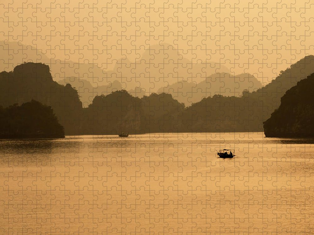 Halong Bay Puzzle featuring the photograph Sunset, Halong Bay, Vietnam by Yellow Dog Productions