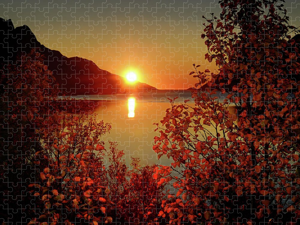 Tranquility Puzzle featuring the photograph Sunset In Ersfjordbotn by John Hemmingsen