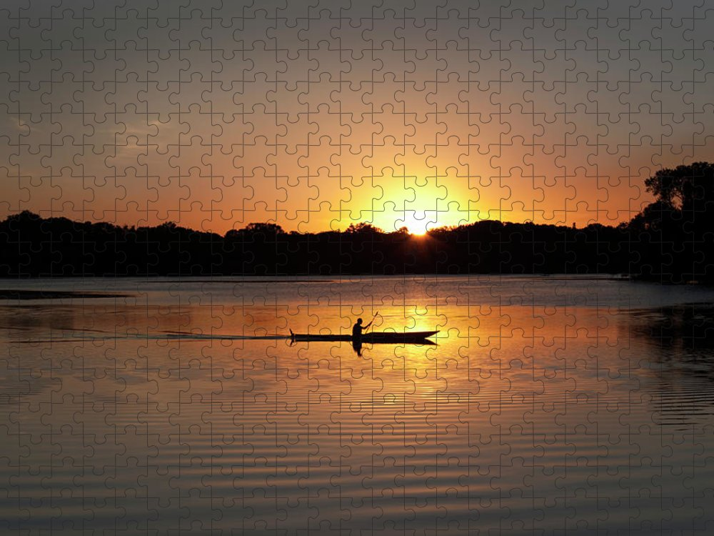 Water's Edge Puzzle featuring the photograph Sunset Kayaking In Lake Of The Isles by Yinyang