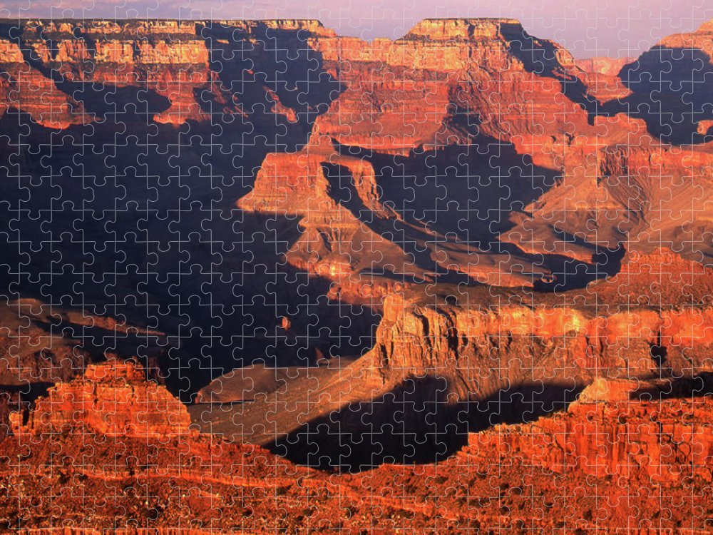 Toughness Puzzle featuring the photograph Sunset Over Grand Canyon by By Tiina Gill