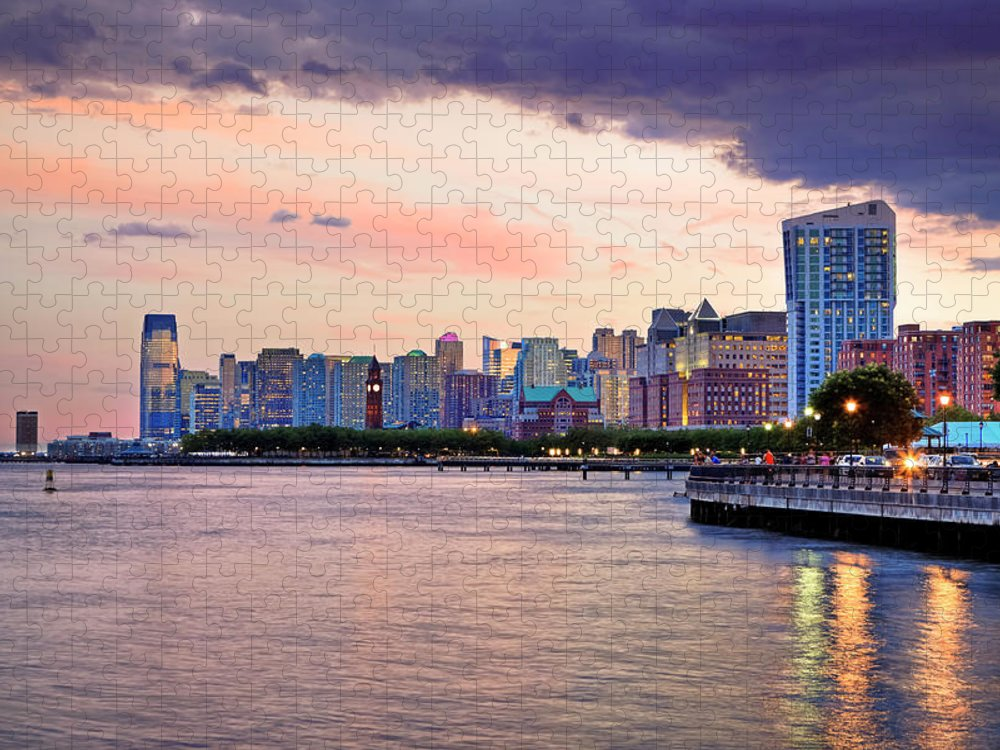 Outdoors Puzzle featuring the photograph Sunset Over Jersey City, Nj by Espiegle
