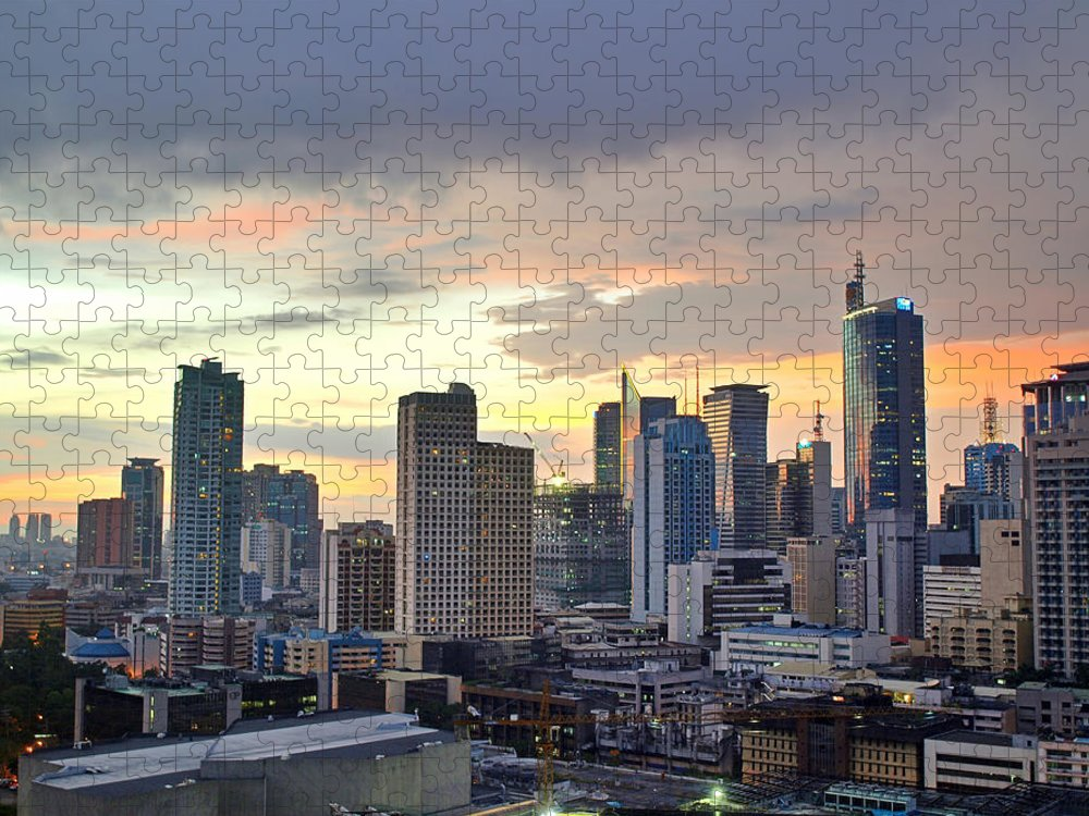 Outdoors Puzzle featuring the photograph Sunset Over Makati City, Manila by Neil Howard