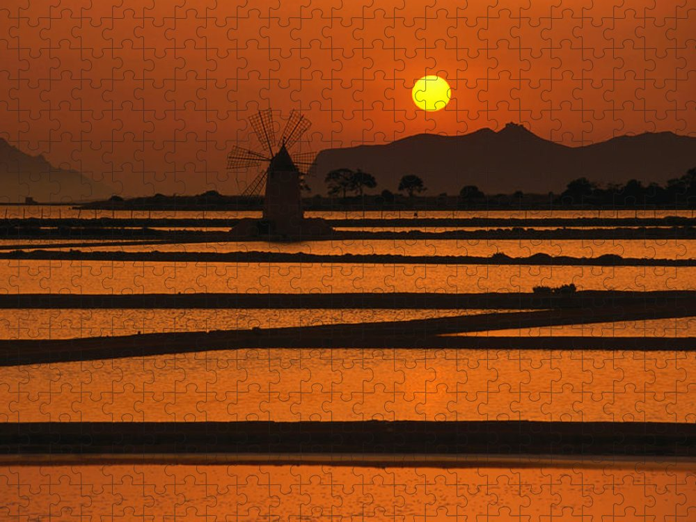 Environmental Conservation Puzzle featuring the photograph Sunset Over The Saltpans And A Windmill by Dallas Stribley