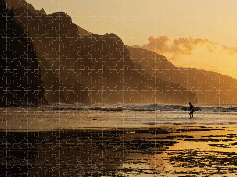Tranquility Puzzle featuring the photograph Surfer On Beach And Na Pali Coast Seen by Enrique R. Aguirre Aves