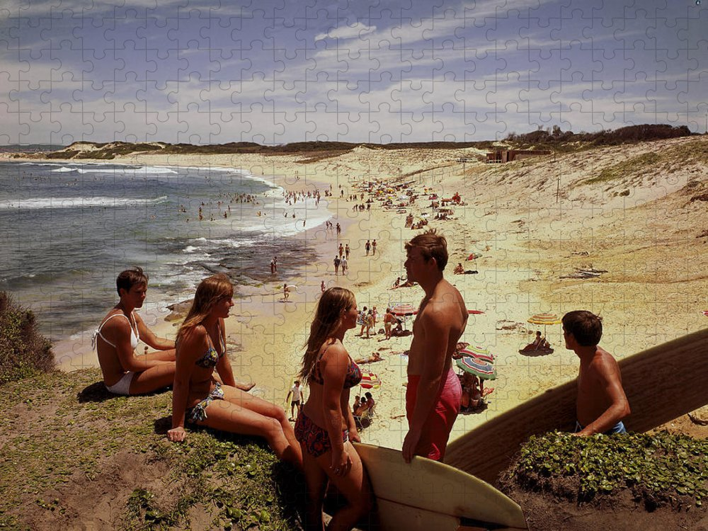 Equipment Puzzle featuring the photograph Surfers & Girls In Bikinis, Soldiers by Robin Smith