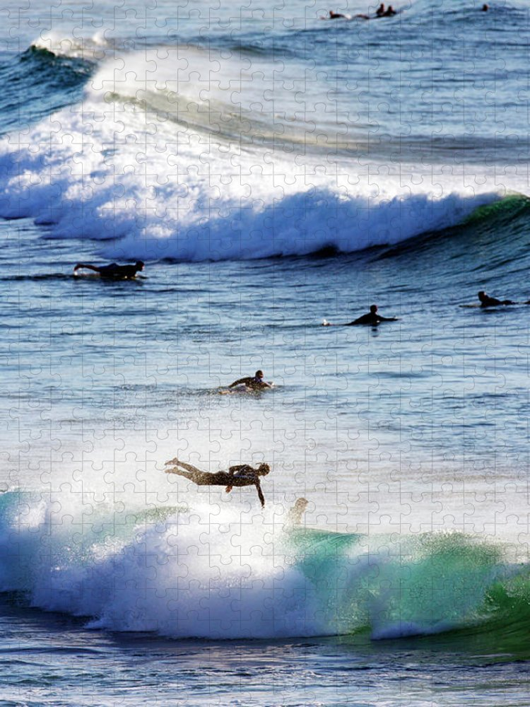 Spray Puzzle featuring the photograph Surfing At Southern End Of Bondi Beach by Oliver Strewe