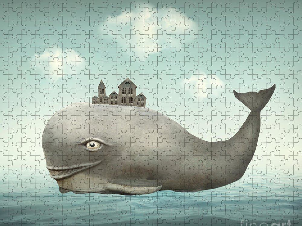 Big Puzzle featuring the digital art Surreal Illustration Of A Whale by Valentina Photos