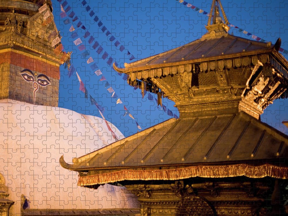 People Puzzle featuring the photograph Swambutayah - The Monkey Temple by Caval