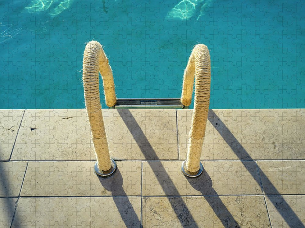 California Puzzle featuring the photograph Swimming Pool Ladder, Los Angeles by Alvis Upitis