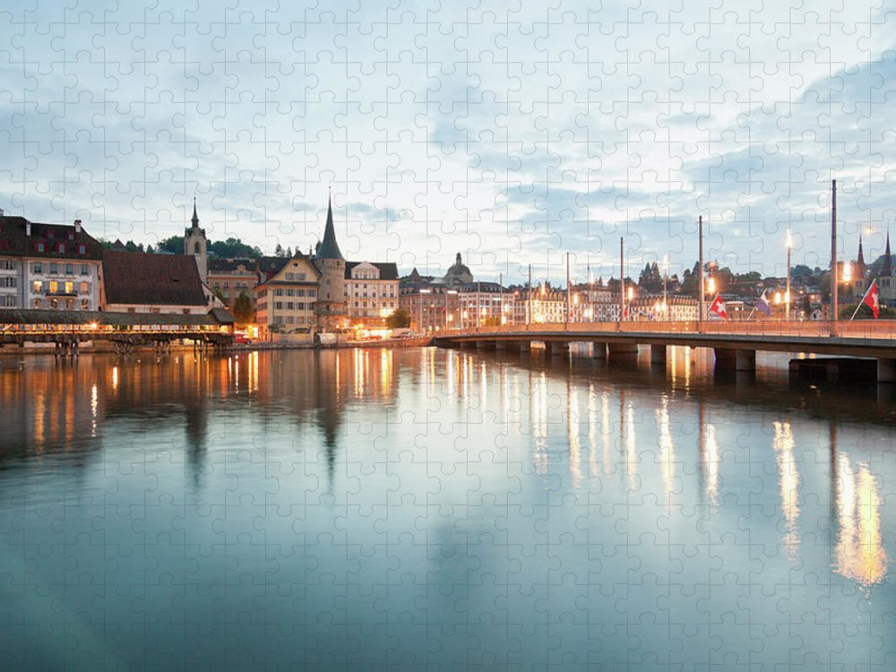 Dawn Puzzle featuring the photograph Switzerland, Lucerne, View Of by Westend61