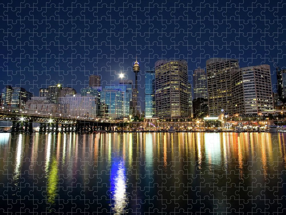 Scenics Puzzle featuring the photograph Sydney Darling Harbour Twilight by Matejay