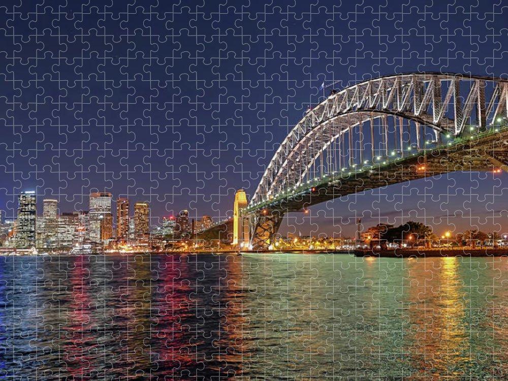 Built Structure Puzzle featuring the photograph Sydney Harbor Bridge At Night, Sydney by Marco Simoni