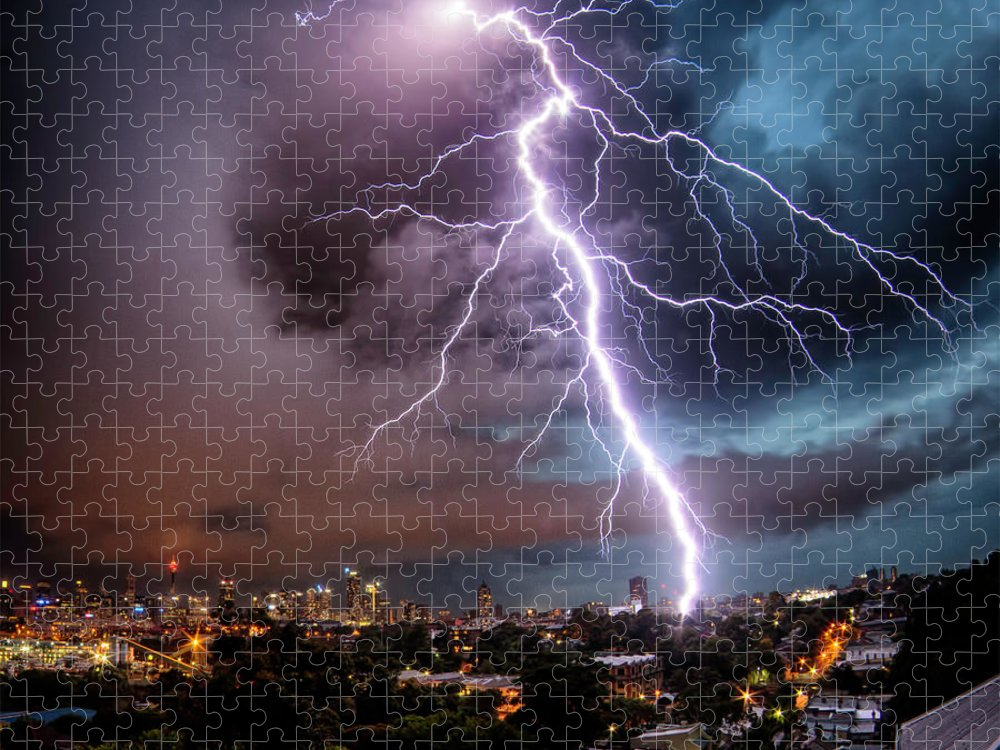 Tranquility Puzzle featuring the photograph Sydney Summer Lightning Strike by Australian Land, City, People Scape Photographer