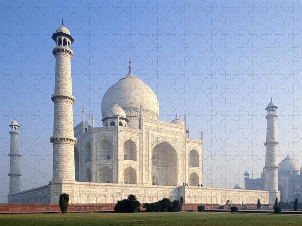 Scenics Puzzle featuring the photograph Taj Mahal, Agra, Uttar Pradesh, India by Frans Lemmens