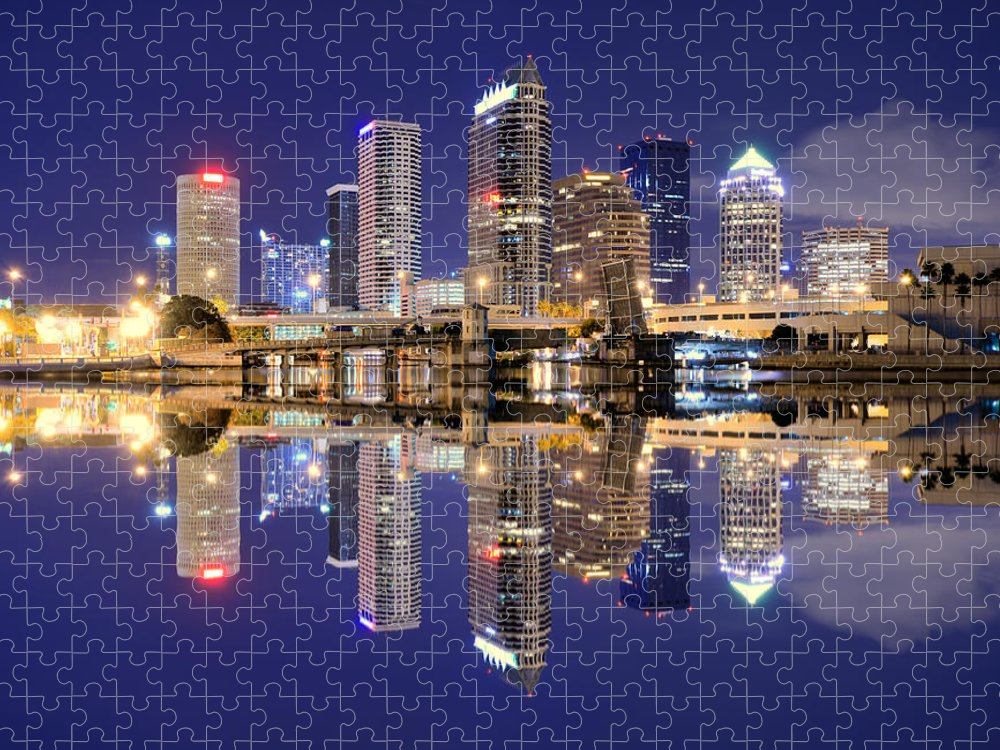 Downtown District Puzzle featuring the photograph Tampa Bay Skyline by Sean Pavone