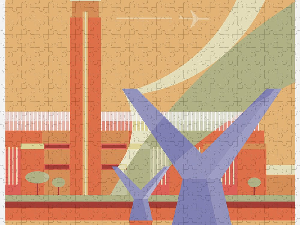 London Millennium Footbridge Puzzle featuring the digital art Tate Gallery And Millennium Bridge by Nigel Sandor