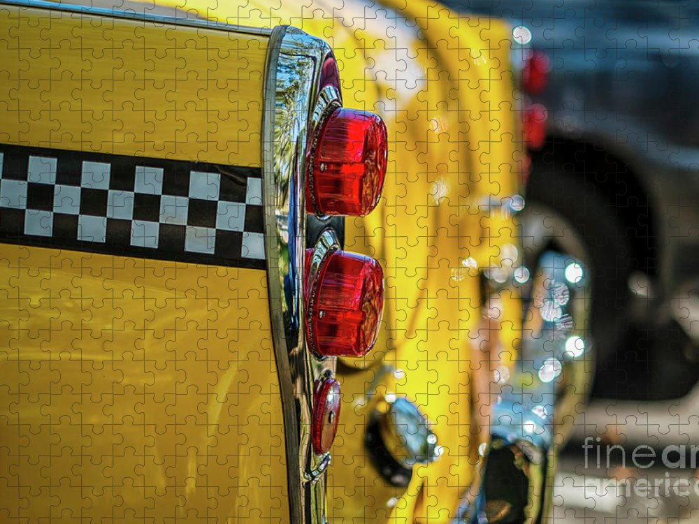 Outdoors Puzzle featuring the photograph Taxi Tail Light, New York City, New by Kai Sarton