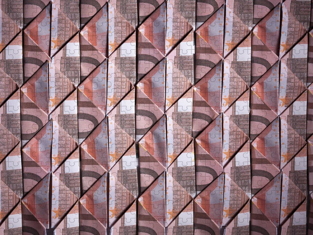 Shadow Puzzle featuring the photograph Ten Euro Banknotes Folded Into Diamond by Larry Washburn
