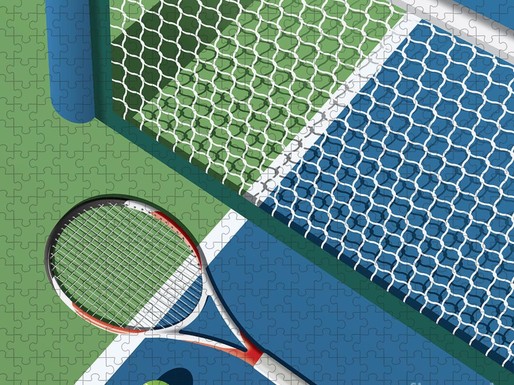 Play Puzzle featuring the digital art Tennis Court by Nikola Knezevic