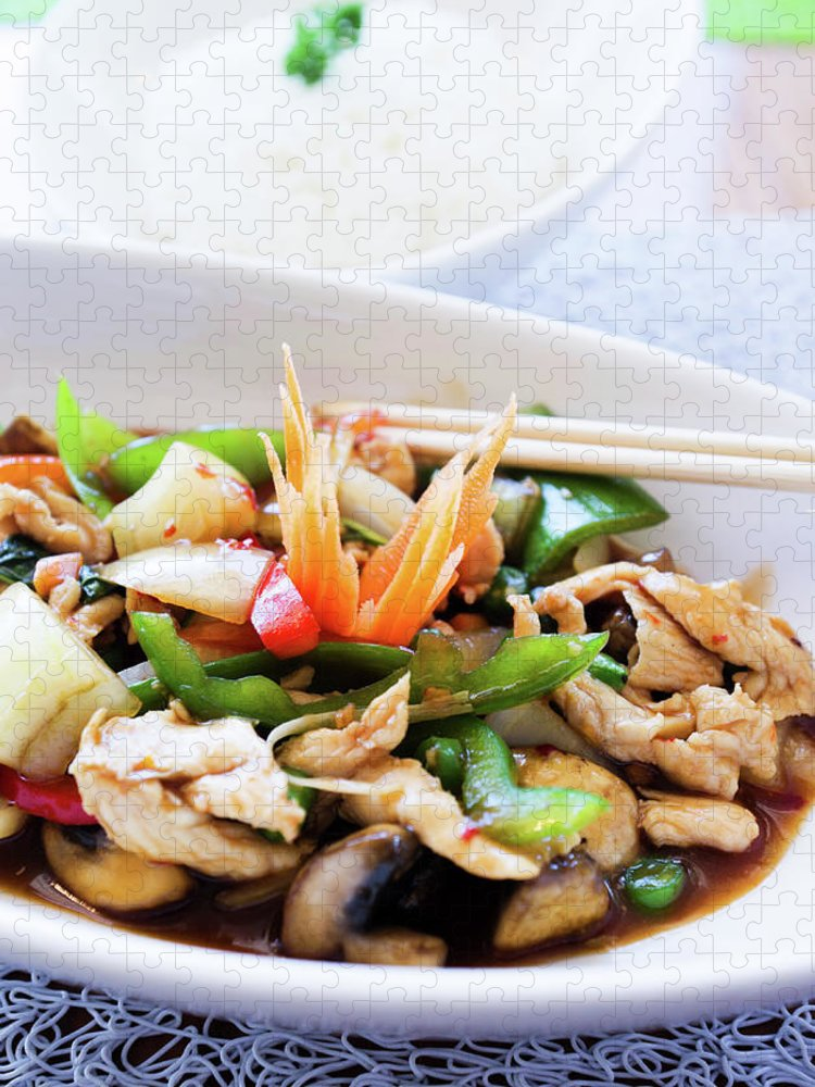 Chicken Meat Puzzle featuring the photograph Thai Basil Chicken Dish And Bowl Of by Rapideye
