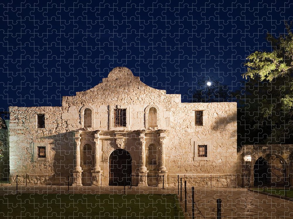 Outdoors Puzzle featuring the photograph The Alamo, San Antonio Texas With Full by Dhughes9