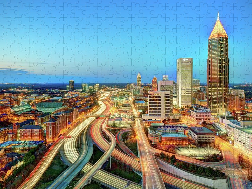 Atlanta Puzzle featuring the photograph The Lifeblood Of Atlanta by Photography By Steve Kelley Aka Mudpig