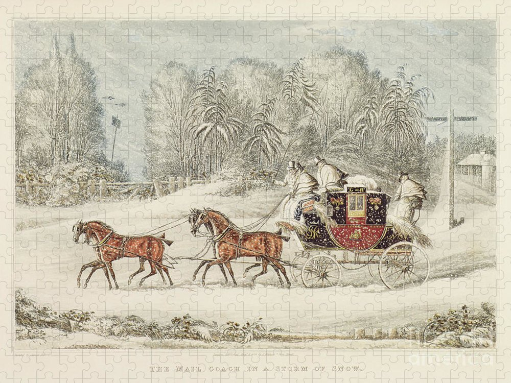 The Mail Coach In A Storm Of Snow Puzzle featuring the painting The Mail Coach In A Storm Of Snow 1825 by James Pollard