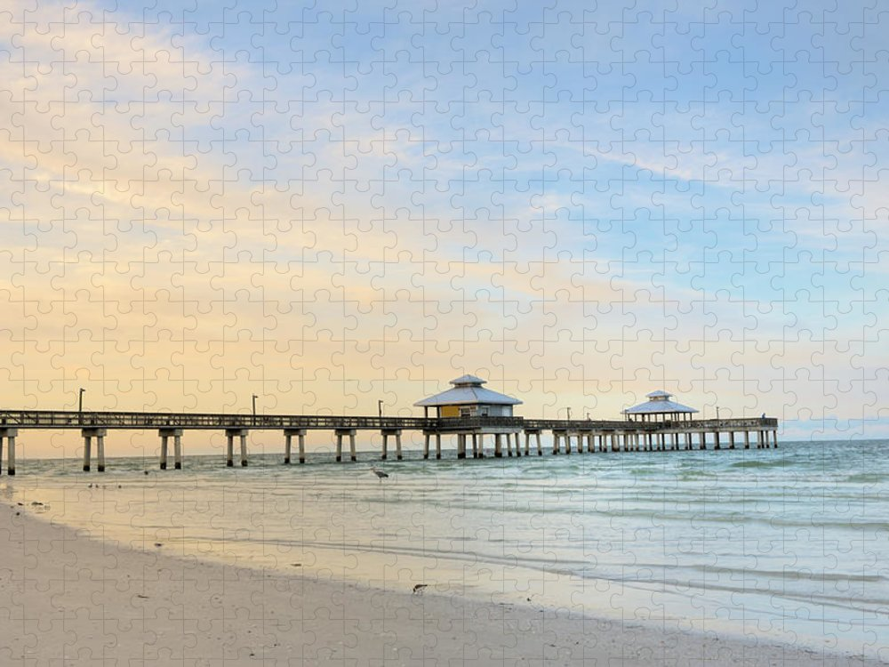Empty Puzzle featuring the photograph The Pier In Fort Myers At Dawn, Florida by Pidjoe