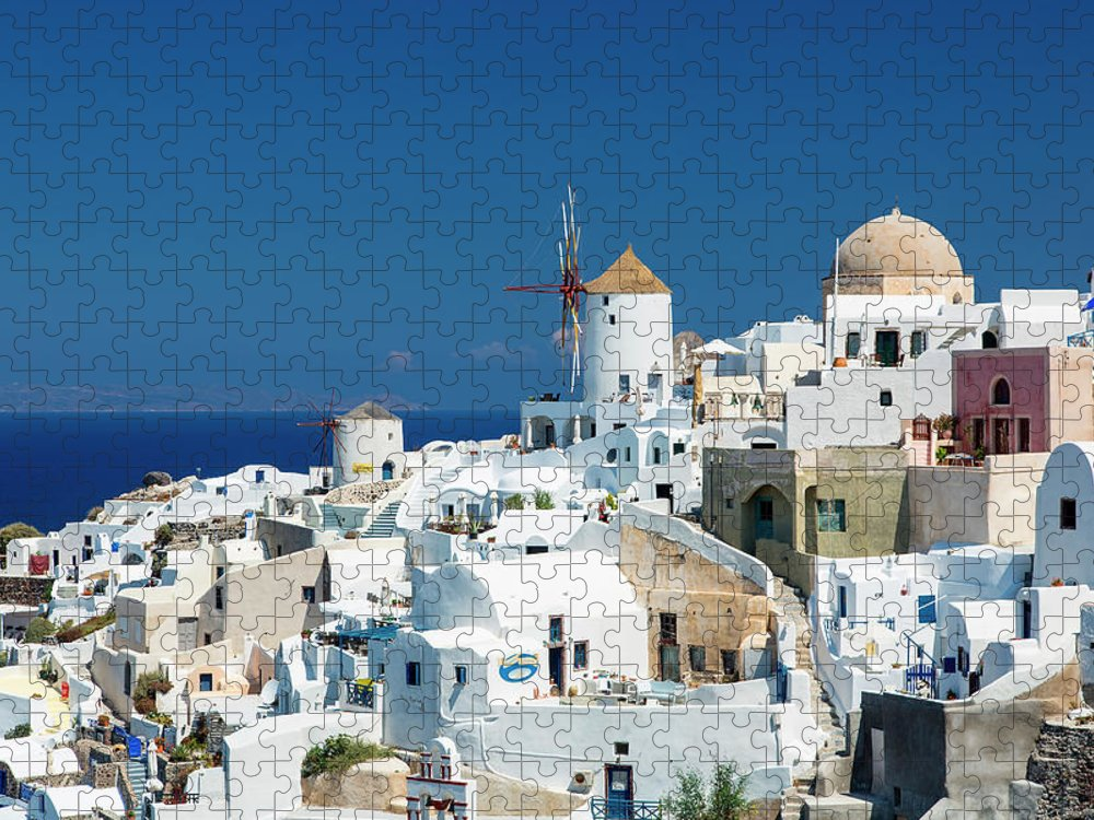Greek Culture Puzzle featuring the photograph The Small Greek Village Of Oia by Sylvain Sonnet