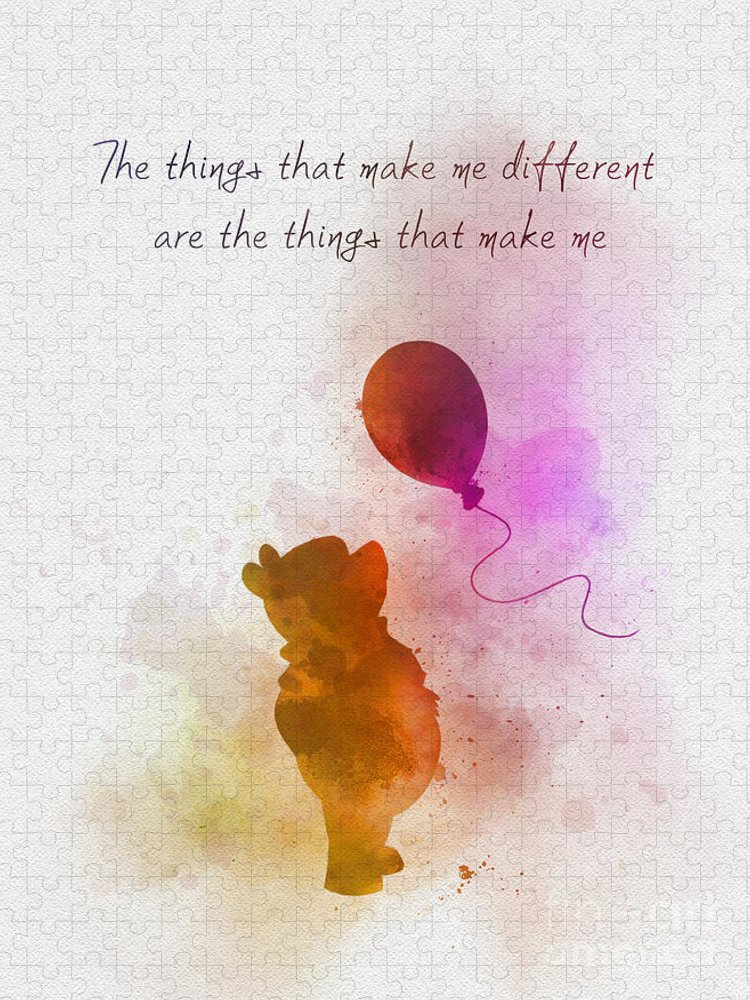 Winnie The Pooh Puzzle featuring the mixed media The things that make me different by My Inspiration