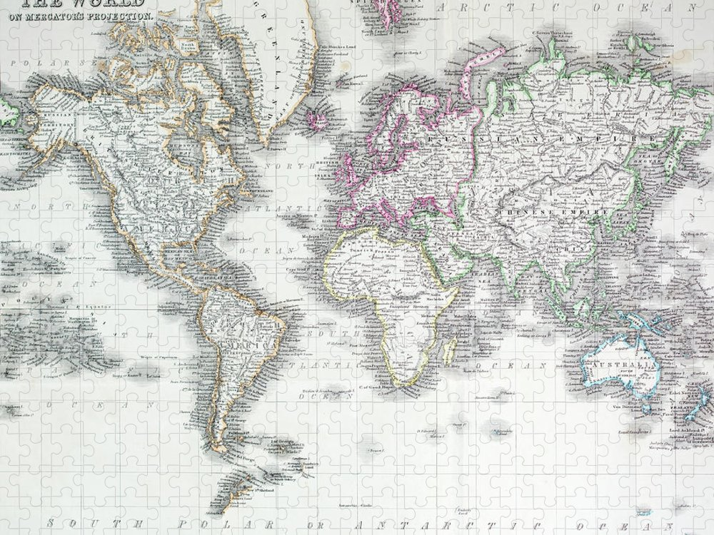 Styles Puzzle featuring the digital art The World On Mercators Projection by Andrew howe