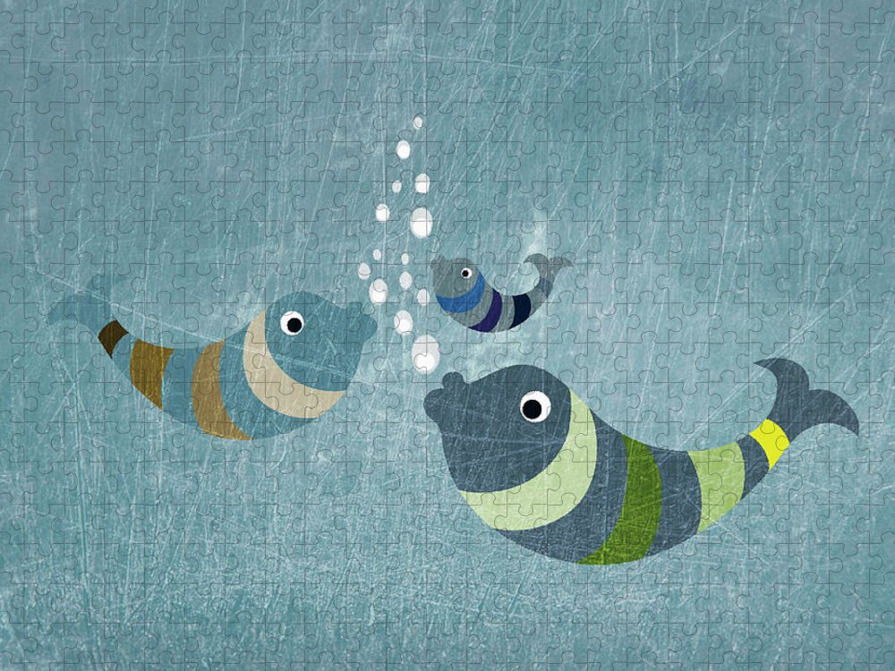 Underwater Puzzle featuring the digital art Three Fish In Water by Fstop Images - Jutta Kuss