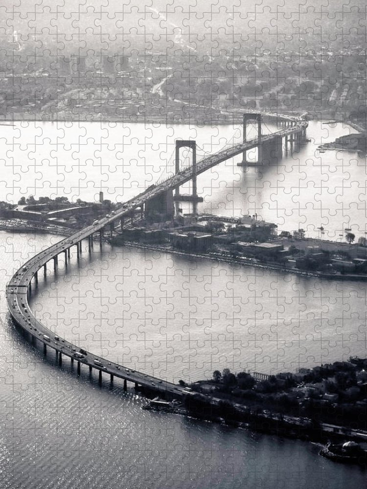 Outdoors Puzzle featuring the photograph Throgs-neck Bridge - Nyc by Original Photography By Neos Design - Cory Eastman