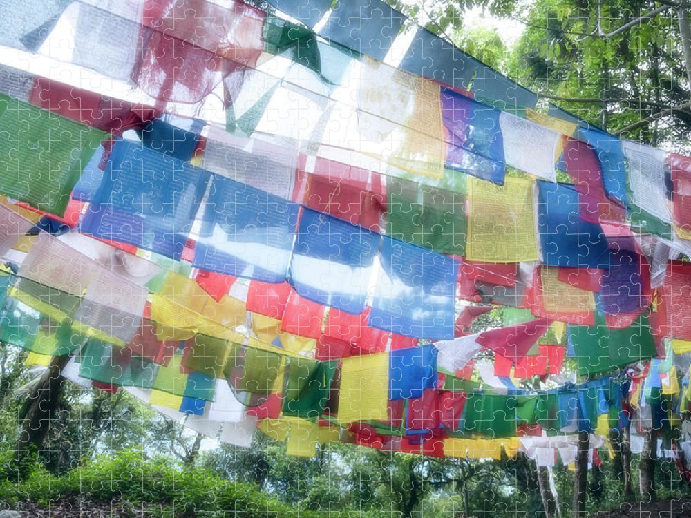 Hanging Puzzle featuring the photograph Tibetan Buddhist Prayer Flags by Glen Allison