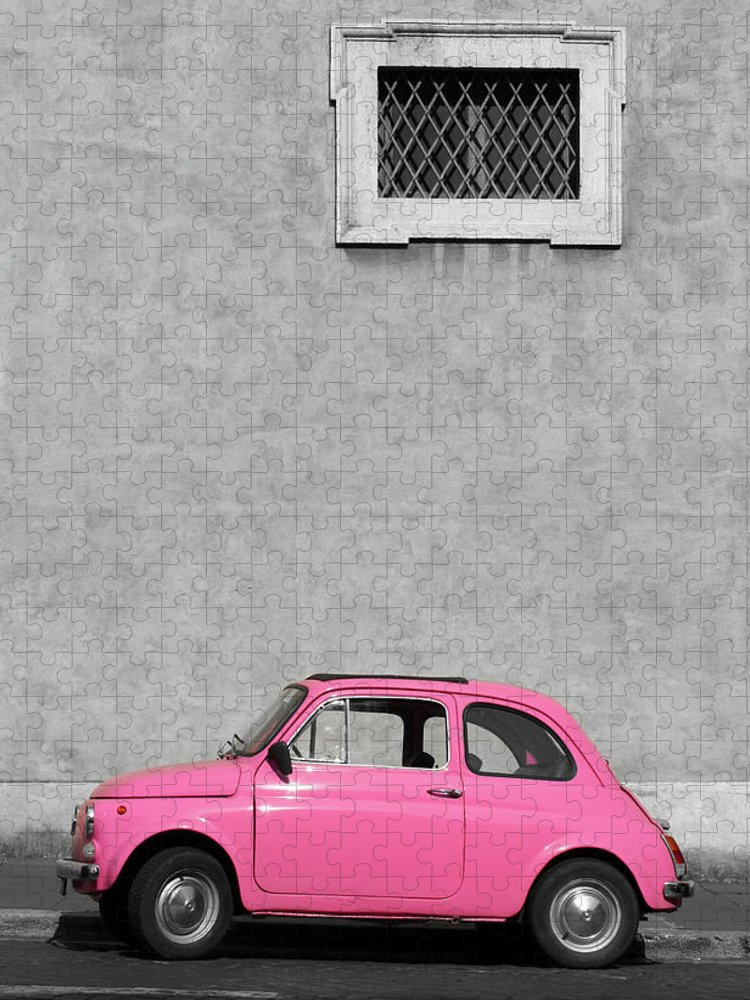 Sparse Puzzle featuring the photograph Tiny Pink Vintage Car, Rome Italy by Romaoslo