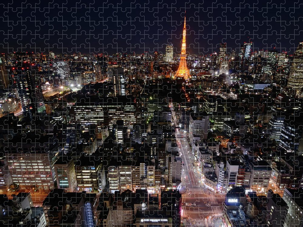 Tokyo Tower Puzzle featuring the photograph Tokyo At Night by Sugimoto Yasuaki