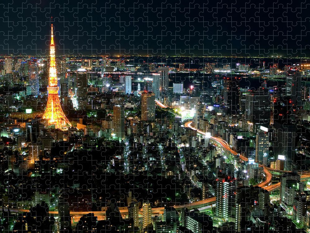 Tokyo Tower Puzzle featuring the photograph Tokyo Tower by Andreas Jensen