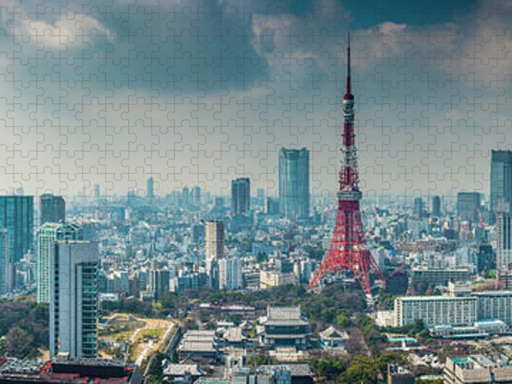 Tokyo Tower Puzzle featuring the photograph Tokyo Tower Futuristic Skyscraper by Fotovoyager