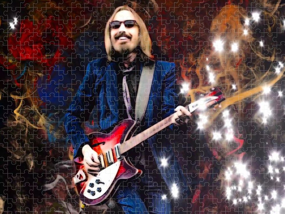 Tom Petty Puzzle featuring the digital art Tom Petty Portrait by Scott Wallace Digital Designs