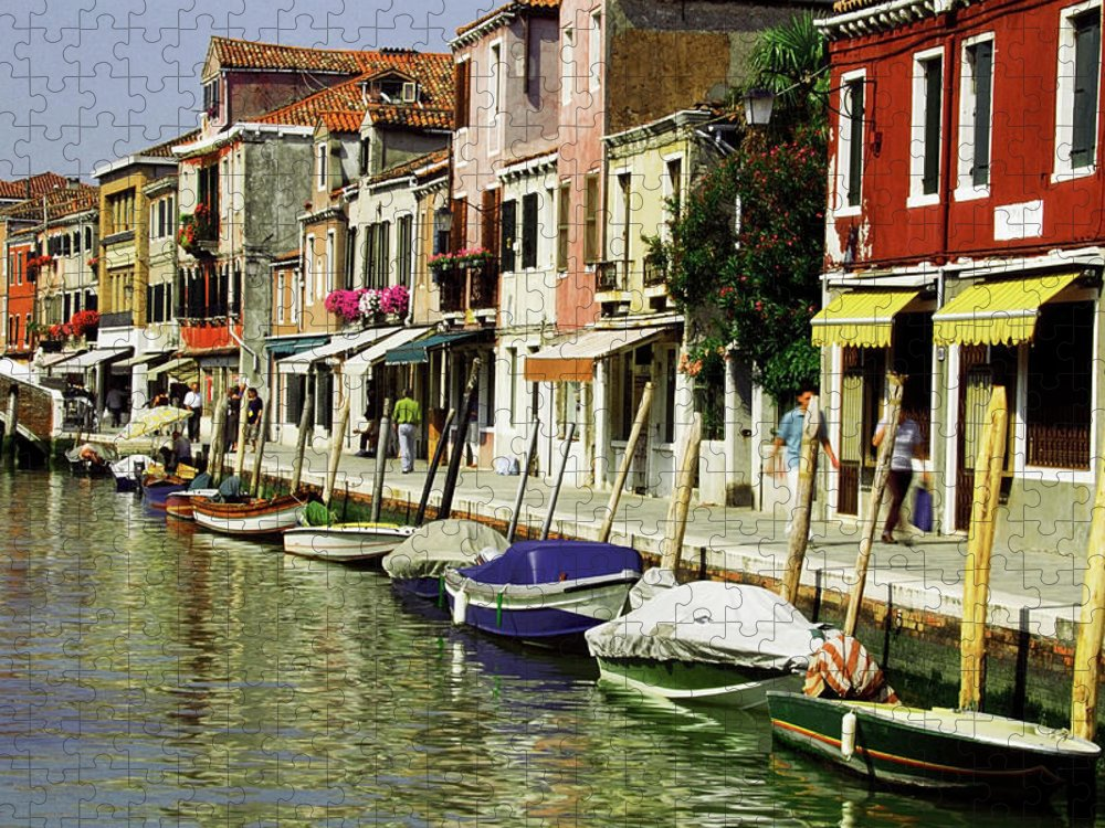 Row House Puzzle featuring the photograph Tourists Along A Canal, Murano, Venice by Medioimages/photodisc