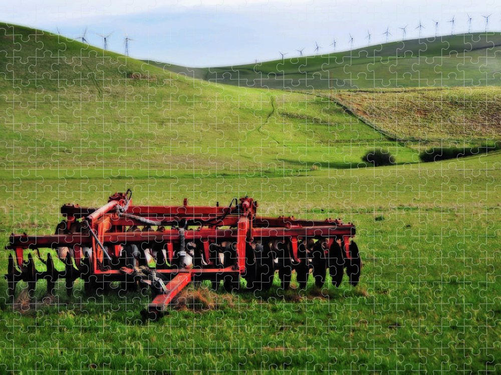 Working Puzzle featuring the photograph Tractor Blades On Green Pasture by Mitch Diamond