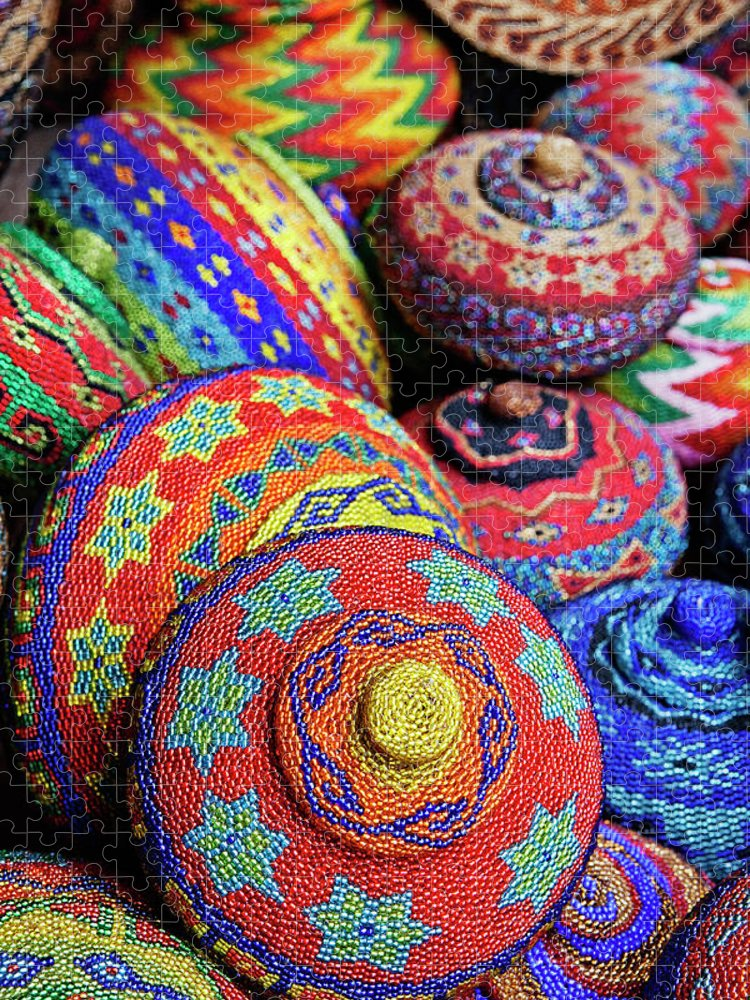 Large Group Of Objects Puzzle featuring the photograph Traditional Colorful Baskets,bali by John W Banagan