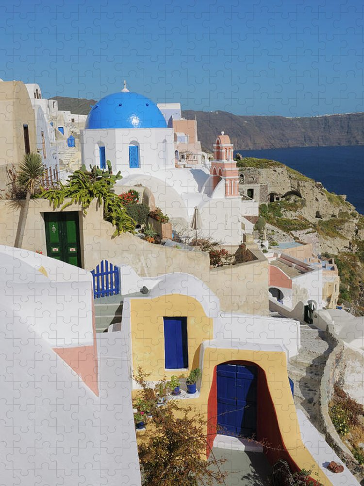 Greek Culture Puzzle featuring the photograph Traditional Greek Houses And Curch by Martin Ruegner