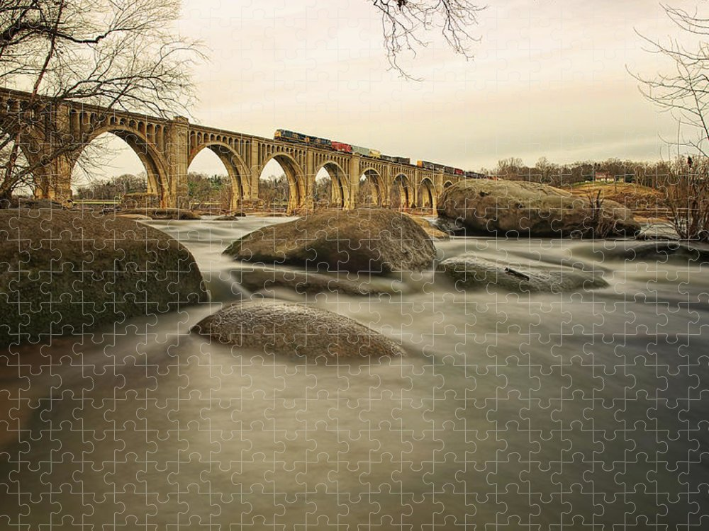 Richmond Puzzle featuring the photograph Train Over James River by Tom Lynch Photography Llc