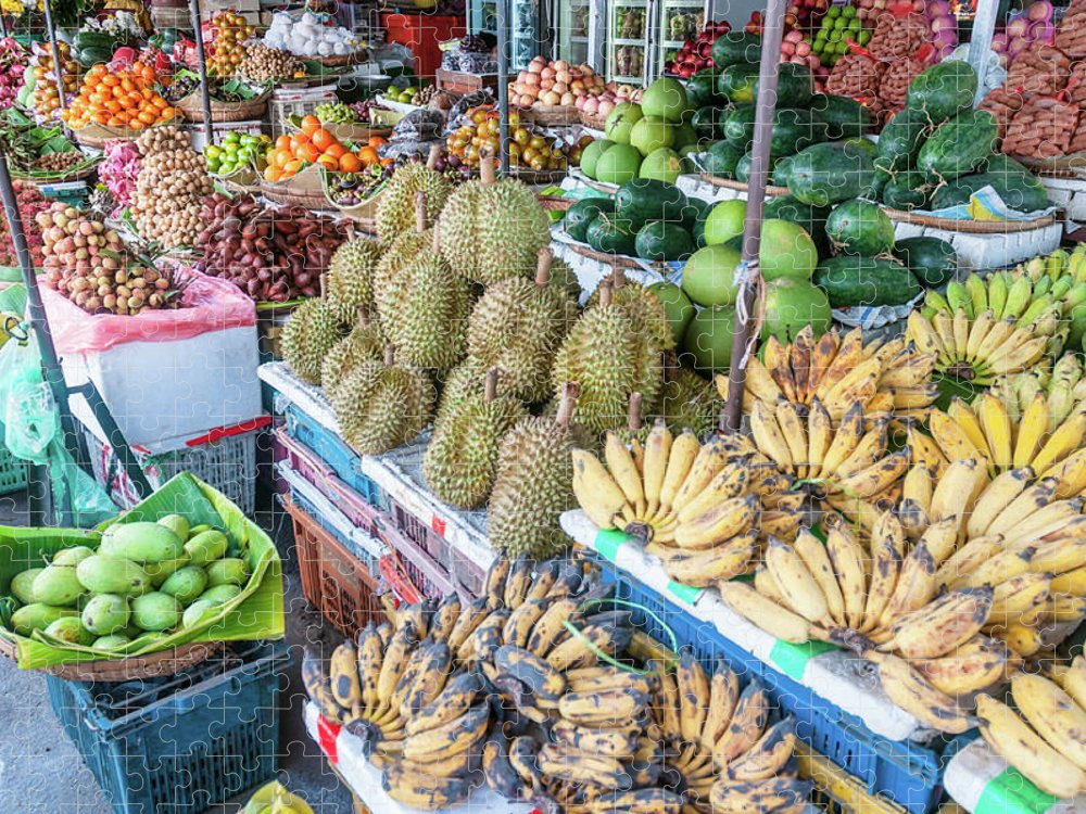 Mango Fruit Puzzle featuring the photograph Tropical Fruit At A Street Market In by Tbradford