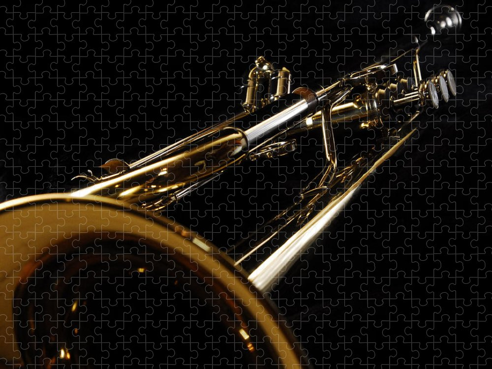 Music Puzzle featuring the photograph Trumpet In Perspective by Pictorico